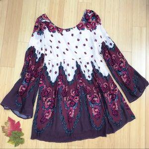FREE PEOPLE V back floral dress, M.